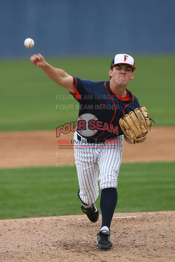February 22 2009: Tyler Pill of the CSUF Titans during game against the TCU Horned Frogs at Goodwin Field in Fullerton,CA.  Photo by Larry Goren/Four Seam Images
