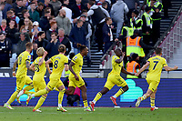 3rd October 2021;   City of London Stadium, London, England; EPL Premier League football, West Ham versus Brentford; Yoane Wissa of Brentford celebrates as he scores the winner for 1-2 in the 94th minute