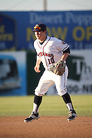 Brooks Marlow (10) of the Lancaster JetHawks during a game against the Modesto Nuts at The Hanger on June 7, 2016 in Lancaster, California. Lancaster defeated Modesto, 3-2. (Larry Goren/Four Seam Images)