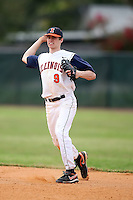 February 22, 2009:  Shortstop Josh Parr (9) of the University of Illinois during the Big East-Big Ten Challenge at Naimoli Complex in St. Petersburg, FL.  Photo by:  Mike Janes/Four Seam Images