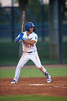 AZL Dodgers Lasorda Aldo Espinoza (10) at bat during an Arizona League game against the AZL Athletics Green at Camelback Ranch on June 19, 2019 in Glendale, Arizona. AZL Dodgers Lasorda defeated AZL Athletics Green 9-5. (Zachary Lucy/Four Seam Images)