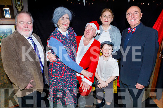 Members of the Hy-Breasal Group working hard behind the scenes in the Ballymac Bar as they prepare to on stage with their performance of John B Keanes Christmas Feast on Friday night.<br /> L to r: James Finnegan, Grace Madden, Ger Reidy (Santa Claus), Ewan Morris, Mary Barry and Frank Houlihan (Director).
