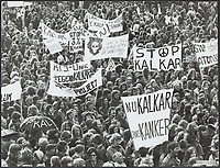 about 40,000 people marching in the streets of Kalkar   North Rhine-Westphalia, Germany,against nuclear reactor,1977<br /> <br /> <br /> The reactor was completed but never taken online.