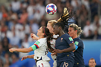 PARIS, FRANCE - JUNE 28: Alex Morgan #13, Samantha Mewis #3, Griedge Mbock Bathy #19, Amandine Henry #6 during a 2019 FIFA Women's World Cup France quarter-final match between France and the United States at Parc des Princes on June 28, 2019 in Paris, France.