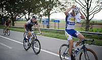 Jasper Stuyven (BEL/Trek Factory Racing) just got handed a musette in the feed zone<br /> <br /> stage 2<br /> Euro Metropole Tour 2014 (former Franco-Belge)