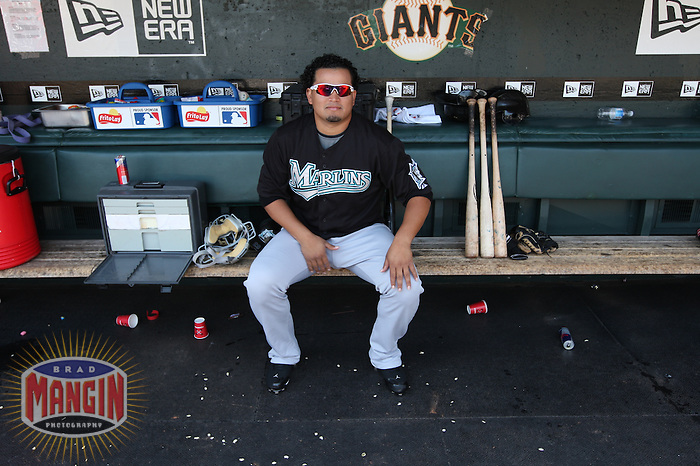 SAN FRANCISCO - JULY 8:  Renyel Pinto #37 of the Florida Marlins sits in the dugout before the game against the San Francisco Giants at AT&T Park on July 8, 2009 in San Francisco, California. Photo by Brad Mangin
