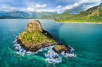 An uncommon aerial view of Chinaman's Hat (or Mokoli'i), Kane'ohe Bay, Windward O'ahu.