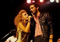 Martine Saint-Clair (L)  Jean-Marc Pisapia, singer The Box in concert / en spectacle<br /> Circa 1987- Montreal