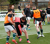 Ealing's Will Davis warms up during the Greene King IPA Championship match between Ealing Trailfinders and Nottingham Rugby at Castle Bar , West Ealing , England  on 18 March 2017. Photo by Carlton Myrie/PRiME Media Images.