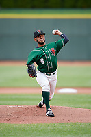Great Lakes Loons starting pitcher Leo Crawford (6) delivers a pitch during a game against the Burlington Bees on May 4, 2017 at Dow Diamond in Midland, Michigan.  Great Lakes defeated Burlington 2-1.  (Mike Janes/Four Seam Images)