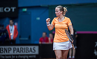 Bratislava, Slovenia, April 23, 2017,  FedCup: Slovakia-Netherlands,seccond rubber sunday,  Richel Hogenkamp (NED) wins the first set and cellebrates<br /> Photo: Tennisimages/Henk Koster