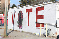 ATLANTA, GA - JANUARY 5: View of a painted wall promoting voting during the Georgia Senate runoff races on January 5, 2021 in Atlanta, Georgia. <br /> CAP/MP34<br /> ©MPI34/Capital Pictures