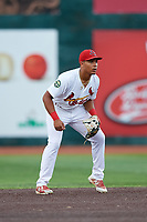 Johnson City Cardinals second baseman Donivan Williams (3) during a game against the Danville Braves on July 28, 2018 at TVA Credit Union Ballpark in Johnson City, Tennessee.  Danville defeated Johnson City 7-4.  (Mike Janes/Four Seam Images)
