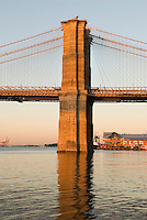 AVAILABLE FOR LICENSING FROM GETTY IMAGES. Please go to www.gettyimages.com and search for image # 132444989.<br /> <br /> Brooklyn Bridge in Early Morning Light, Lower Manhattan, New York City, New York State, USA