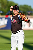 Wisconsin Timber Rattlers outfielder Robert Henry (3) warms up in the bullpen prior to a Midwest League game against the Clinton LumberKings on June 29, 2018 at Fox Cities Stadium in Appleton, Wisconsin. Clinton defeated Wisconsin 9-7. (Brad Krause/Four Seam Images)