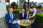 Pat McGrath, Chris McAleer Café du Parc manager and Aga Manda getting prepared for the return of outside serving at the Plaza Hotel in Killarney