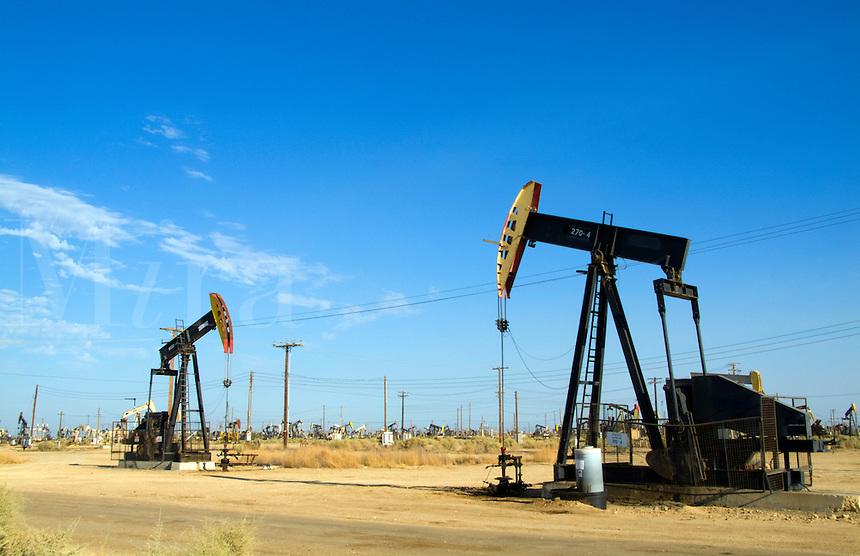 Oil rigs in Fields of Lost Hills, Bakersfield, California
