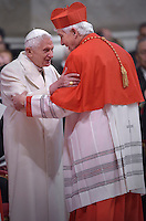Italian Cardinal Edoardo Menichelli.Pope Benedict XVI; during a consistory for the creation of new Cardinals at St. Peter's Basilica in Vatican.February 14, 2015