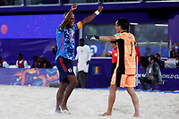 28th August 2021; Luzhniki Stadium, Moscow, Russia: FIFA World Cup Beach Football tournament; Semi final match Japan versus Senegal: Yusuke Kawai and Ozu Moreira from Japan, celebrate the victory after the match between Japan and Senegal