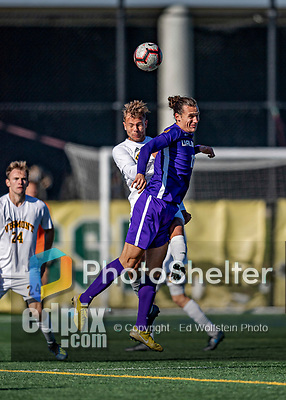5 October 2019: University of Vermont Catamount Defender Arnar Steinn Hansson, a Senior from Garðabær, Iceland battles University at Albany Great Dane Defender Kaio DaSilva, a Junior from White Plains, NY, on Virtue Field in Burlington, Vermont. The Catamounts fell to the visiting Danes 3-1 in America East, Division 1 play. Mandatory Credit: Ed Wolfstein Photo *** RAW (NEF) Image File Available ***