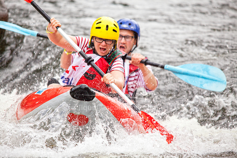 The white waters Lochrist basin hosts an annual event, the  24 hour kayaking, which on the first weekend of June, brings together 850 competitors and 10,000 spectators for a major celebration of the spirit of sport, relaxation and pleasure on the water, Inzinzac Lochrist, France.