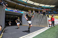 James Blackwell leads the Lions out during the Mitre 10 Cup rugby match between Wellington Lions and Manawatu Turbos at Sky Stadium in Wellington, New Zealand on Saturday, 14 November 2020. Photo: Dave Lintott / lintottphoto.co.nz