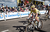 yellow jersey / GC leader Julian Alaphilippe (FRA/Deceuninck - QuickStep) rolling in at the finish<br /> <br /> Stage 2 from Perros-Guirec to Mûr-de-Bretagne, Guerlédan (184km)<br /> 108th Tour de France 2021 (2.UWT)<br /> <br /> ©kramon