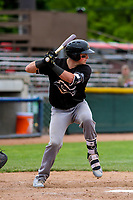 Quad Cities River Bandits catcher Michael Papierski (9) at bat during a Midwest League game against the Beloit Snappers on May 20, 2018 at Pohlman Field in Beloit, Wisconsin. Beloit defeated Quad Cities 3-2. (Brad Krause/Four Seam Images)