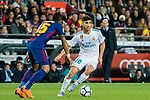 Marco Asensio Willemsen (R) of Real Madrid battles for the ball with Jose Paulo Bezerra Maciel Junior, Paulinho, of FC Barcelona during the La Liga 2017-18 match between FC Barcelona and Real Madrid at Camp Nou on May 06 2018 in Barcelona, Spain. Photo by Vicens Gimenez / Power Sport Images