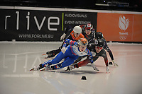 SPEEDSKATING: DORDRECHT: 06-03-2021, ISU World Short Track Speedskating Championships, SF 500m Ladies, Florence Brunelle (CAN), Sofia Prosvirnova (RSU), ©photo Martin de Jong