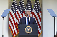 US President Donald J. Trump delivers remarks in the Rose Garden at the White House in Washington, DC, USA, 01 June 2020. Trump addressed the nationwide protests following the death of George Floyd in police custody.<br /> Credit: Shawn Thew / Pool via CNP/AdMedia