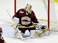 18 October 2009: Boston College Eagle goaltender John Muse, a Junior from East Falmouth, MA, makes a third period save against the University of Vermont Catamounts at Gutterson Fieldhouse in Burlington, Vermont. The Catamounts defeated the visiting Eagles 4-1. Mandatory Credit: Ed Wolfstein Photo