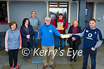 John O'Sullivan presents the proceeds of the The Village Inn bar Kilcummin Cheltenham prediction competition to the Kerry Hospice charity in Kilcummin on Sunday front row l-r: Mary Shanahan, Pat Doolan both Kerry Hospice, John O'Sullivan. Middle row Siobhan Collins, Helen Mannix O'Leary, back row: Diarmuid Donoghue and John Keogh (winner)
