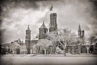 Smithsonian Castle Washington DC Black and White Photography Washington DC Art - - Framed Prints - Wall Murals - Metal Prints - Aluminum Prints - Canvas Prints - Fine Art Prints Washington DC Landmarks Monuments Architecture