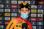 Mark Cavendish (GBR) Bahrain-McLaren at sign on before the start of the 82nd edition of Gent-Wevelgem 2020 running 232km from Ypres to Wevelgem, Belgium. 11th October 2020.  <br /> Picture: Colin Flockton   Cyclefile<br /> <br /> All photos usage must carry mandatory copyright credit (© Cyclefile   Colin Flockton)