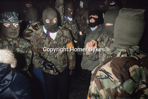 Newtownards, County Down, Northern Ireland. 1981<br /> The Rev'd Ian Paisley's Third Force paramilitaries.  The Red Hand Commandos were an attempt to create an Ulster loyalist defensive militia and were part of the Loyalist Day of Action, a protest against the deteriorating security situation.