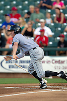 Omaha Storm Chasers outfielder Wil Myers #8 runs to first base during the Pacific Coast League baseball game against the Round Rock Express on July 20, 2012 at the Dell Diamond in Round Rock, Texas. The Chasers defeated the Express 10-4. (Andrew Woolley/Four Seam Images).