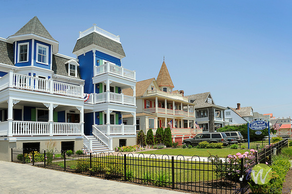 American flags on Victorian condominiums on Beach Avenue, Cape May, N