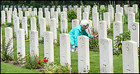 BNPS.co.uk (01202 558833)<br /> Pic: PhilYeomans/BNPS<br /> <br /> Dedication - Willemein Rieken at Trooper Edmunds grave at Arnhem.<br /> <br /> Arnhem flowergirl finally honoured - Willemien was suprised to be presented with flowers and a certificate by Parachute Regiment veterans at the weekend.<br /> <br /> A Dutch woman who has tended to the grave of a British paratrooper killed at the Battle of Arnhem for 75 years has been presented with flowers from his regiment as a token of their gratitude.<br /> <br /> Every year Willemien Rieken, 84, lays flowers at Oosterbeek War Cemetery in memory of Trooper William Edmond who was shot by a German sniper after landing in Holland in World War Two.<br /> <br /> She was surprised at his grave by a member of Tpr Edmond's 1st Airborne Reconnaissance Squadron at a ceremony marking the 75th anniversary of the battle.