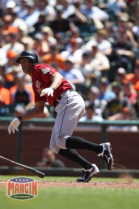 SAN FRANCISCO, CA - JUNE 14:  Justin Maxwell #44 of the Houston Astros bats against the San Francisco Giants during the game at AT&T Park on Thursday, June 14, 2012 in San Francisco, California. Photo by Brad Mangin