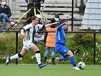 Jeanne Bouchenna (17) of Sporting Charleroi  and Fleur Pauwels (66) of KRC Genk in action during a female soccer game between Sporting Charleroi and KRC Genk on the 4 th matchday in play off 2 of the 2020 - 2021 season of Belgian Scooore Womens Super League , friday 30 th of April 2021  in Marcinelle , Belgium . PHOTO SPORTPIX.BE | SPP | Jill Delsaux