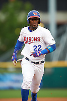 Buffalo Bisons right fielder Junior Lake (22) running the bases during a game against the Durham Bulls on June 13, 2016 at Coca-Cola Field in Buffalo, New York.  Durham defeated Buffalo 5-0.  (Mike Janes/Four Seam Images)