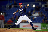 Binghamton Rumble Ponies relief pitcher Stephen Nogosek (10) delivers a pitch during a game against the Portland Sea Dogs on August 31, 2018 at NYSEG Stadium in Binghamton, New York.  Portland defeated Binghamton 4-1.  (Mike Janes/Four Seam Images)