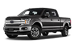 Stock pictures of low aggressive front three quarter view of 2018 Ford F-150 Lariat 4 Door Pick-up Low Aggressive