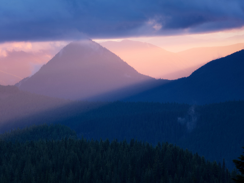 Sunset with Tumtum Peak. Mt. Rainier National Park, Washington