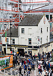 The iconic Strawberry pub, dwarfed by a new building taking shape. Newcastle v West Ham, August 15th 2021. The first game of the season, and the first time fans were allowed into St James Park since the Coronavirus pandemic. 50,673 people watched West Ham come from behind twice to secure a 2-4 win.