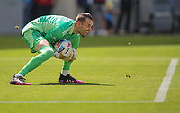 LOS ANGELES, CA - APRIL 17: Brad Stuver  #41of Austin FC saves a ball during a game between Austin FC and Los Angeles FC at Banc of California Stadium on April 17, 2021 in Los Angeles, California.