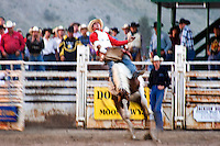 Bronc rider at the Teton County Fair Rodeo in Jackson Hole, Wyoming