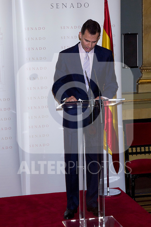 16.07.2012. Prince Felipe of Spain and Princess Letizia of Spain attends the Giving of the 8 th Edition of ´Luis Carandell´ Parliamentary Journalism in the Senate Building. In the image Prince Felipe  (Alterphotos/Marta Gonzalez)