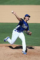Dean Kremer (17) of the Rancho Cucamonga Quakes pitches against the Stockton Ports at LoanMart Field on May 28, 2017 in Rancho Cucamonga, California. Stockton defeated Rancho Cucamonga, 7-4. (Larry Goren/Four Seam Images)